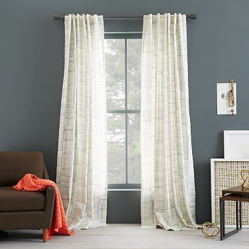 Cotton Canvas Printed Curtain - Etched Grid #westelm $39 (looks like birch!)