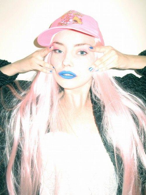 blue lips, pink hair #nastygal #minkpink