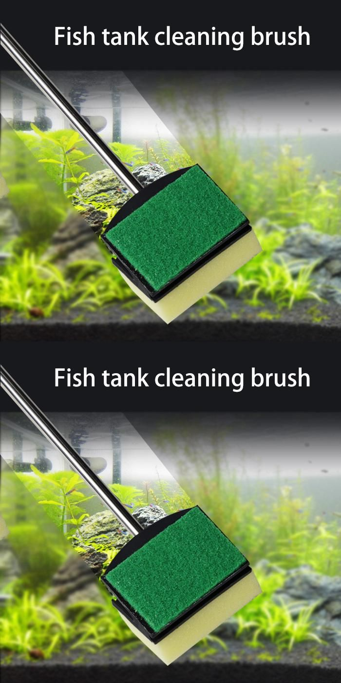 [Visit to Buy] Glass Fish Tank Plant Algae Yellow Green Double Side Sponge Cleaning Cleaner Tool Aquarium Brush Free shipping #Advertisement