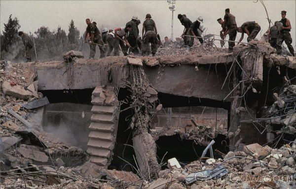 Beiruit Bombing Aftermath of Marine HEadquarters in Beirut, Lebanon Americans were shocked to hear of the bombing of Marine Headquarters in Beirut, Lebanon, and were doubly overcome about the pictures of horrible devastation and days of hopeful