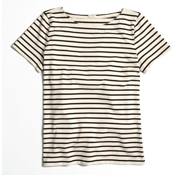 J.Crew Factory ladder-striped T-shirt ($27) ❤ liked on Polyvore featuring tops, t-shirts, striped top, loose fitting tops, striped t shirt, j crew tops and loose t shirt