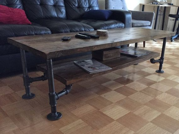 Rustic wood and pipe coffee table by philmons on etsy for Rustic pipe table
