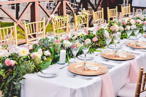 CBC372 wedding riviera maya whit and light pink flowers runners centerpiece/ centro de mesa de camino de flores blancas y rosa claro