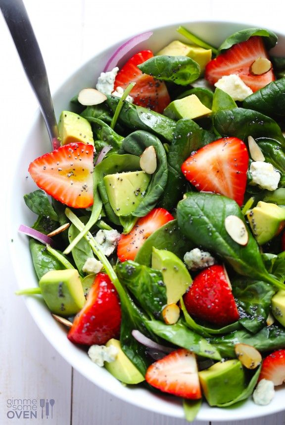 Avocado Strawberry Spinach Salad with Poppyseed Dressing   #justeatrealfood #gimmesomeoven