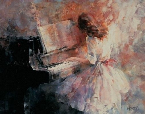 Free shipping palette knife beautiful girl playing the piano oil painting on canvas Leonid Afremov reproduction picture K1