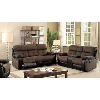 Shop for Furniture of America Fawnie 3-piece Two-Tone Champion Fabric/Leatherette Reclining Sofa Set. Get free delivery at Overstock.com - Your Online Furniture Shop! Get 5% in rewards with Club O! - 19428358