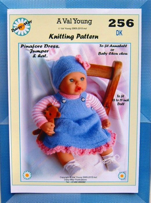 1 x  DOLLS KNITTING PATTERN  for  Annabell  No 256 by Daisy-May 17 -19  doll
