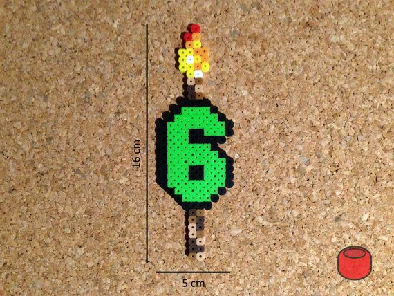 Número de vela de cumpleaños pixel de cuentas Perler por DJbits