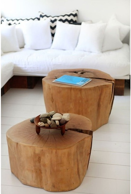 diy tree stump tables / coffee tables- would make cute side tables