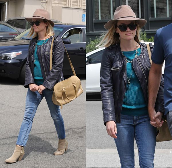 Reese Witherspoon spotted leaving Tavern in Brentwood after having lunch in California on April 18, 2014