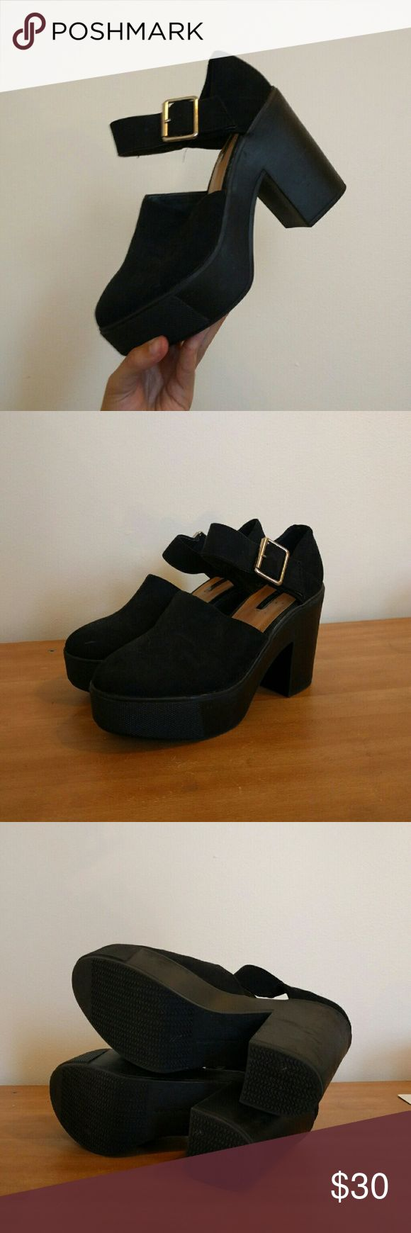"Black chunky platform heels by Zara These lovely heels are a happy medium between a bootie and conventional ""work"" heels. Very comfortable, used twice. Zara Shoes Heels"
