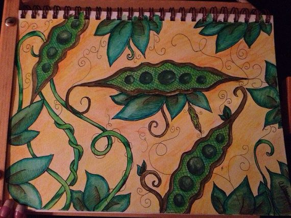 Pea pod ( ink and pen abstract drawing ) on Etsy, $75.00