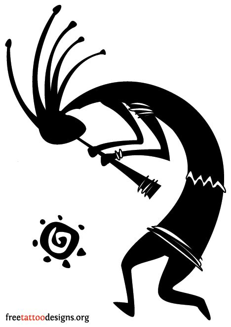 Dancing kokopelli tattoo design