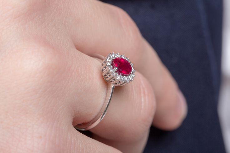 15%off Ruby Engagement Ring 18k Diamond Ring CUSTOM Hand