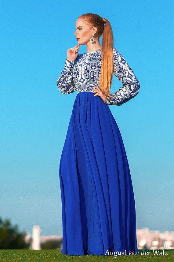 Summer Maxi Dress wedding guest dress printed by AugustVanDerWalz