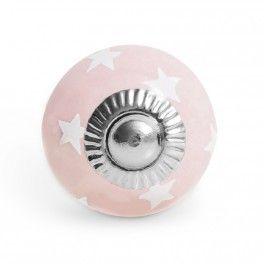 Pomello in Ceramica Vintage a Stelle 3 cm 4.00 € http://www.decochic.it/it/pomelli-rosarosso/2677-pomello-piccolo-in-ceramica-rosa-a-stelle-bianche.html
