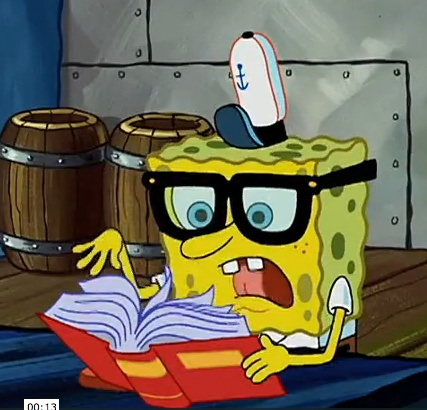 Spongebob reading a book
