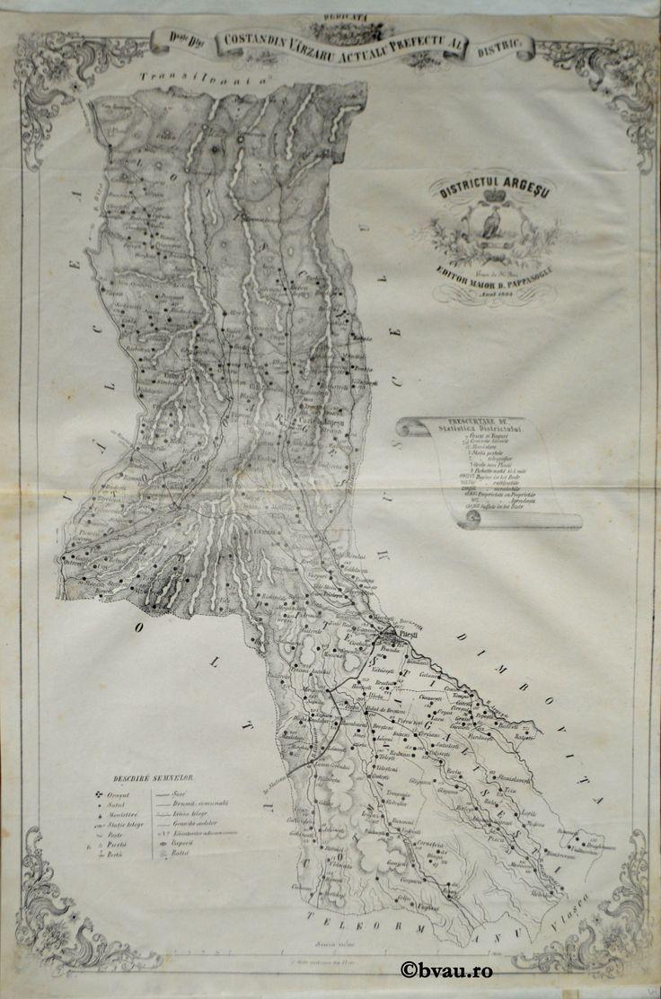 """Districtul Argeșu, întocmit şi editat de Maior D. Pappasoglu, 1864. Imagine din colecțiile Bibliotecii """"V.A. Urechia"""" Galați."""