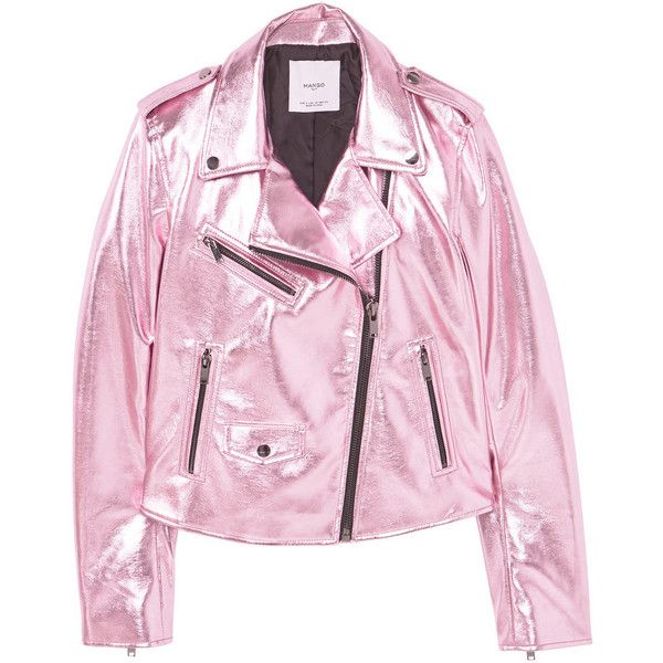 MANGO Crystals Metallic Jacket ($100) ❤ liked on Polyvore featuring outerwear, jackets, long sleeve jacket, fleece-lined jackets, metal jacket, mango jackets and pink jacket