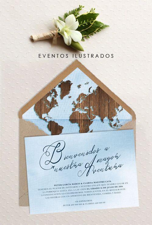 Invitaciones de boda para amantes viajeros. Originalidad, luz, diseño, vintage y color, todo en uno!