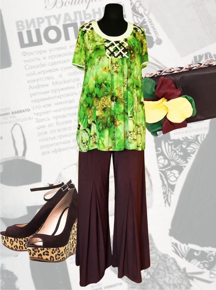 """57$ Летний брючный костюм для полных женщин """"Зеленая роза"""" Артикул 433, р50-64 Женские костюмы большие размеры  Женские костюмы с брюками большие размеры  Летний брючный костюм большие размеры  Трикотажные женские брючные костюмы большие размеры  Трикотажные летние брючные костюмы большие размеры"""