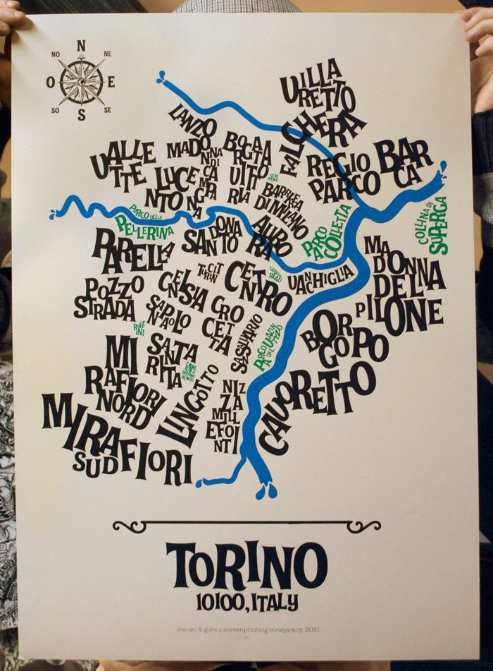 Turin typographic map (gorestudio.it)
