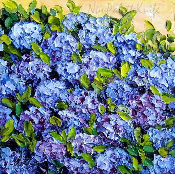 Blauwe hortensia originele olieverfschilderij bloem florale