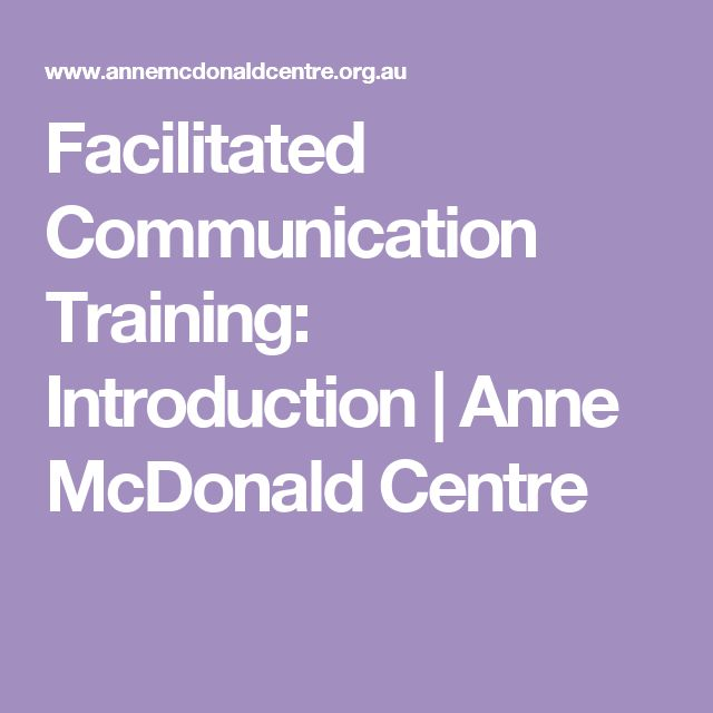 Facilitated Communication Training: Introduction | Anne McDonald Centre