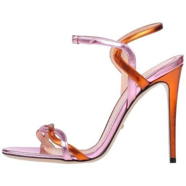 Preowned Gucci Pink Orange Metallic Strappy Evening Sandals Heels In... ($1,525) ❤ liked on Polyvore featuring shoes, sandals, pink, strappy high heel sandals, orange strappy sandals, pink sandals, pink shoes and leather strap sandals