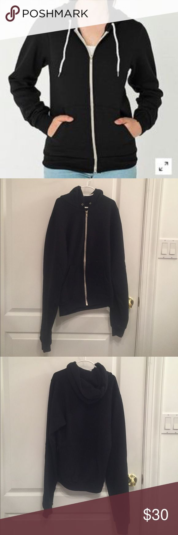 American Apparel Black Zip Up Hoodie American Apparel black zip up hoodie. Missing lace from hood and minor pilling on arms and inside, but still in great condition.  Feel free to comment with any questions or to make me an offer! American Apparel Tops Sweatshirts & Hoodies