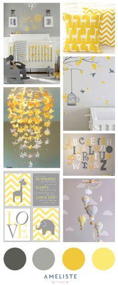 Chambre de bébé jaune et gris : inspirations d'Ameliste pour liste de naissance