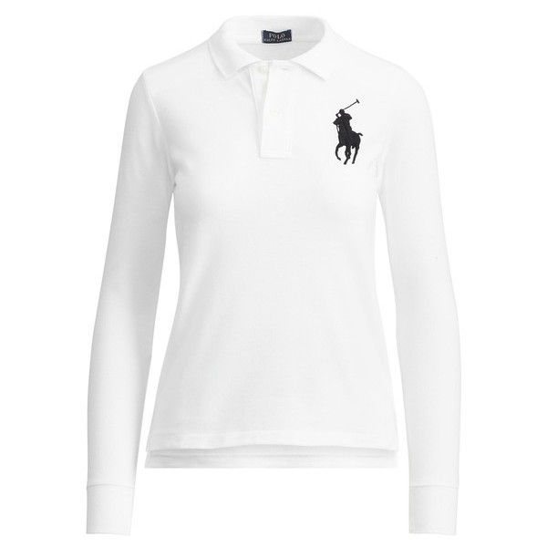 Polo Ralph Lauren Skinny Fit Big Pony Polo (€92) ❤ liked on Polyvore featuring tops, long-sleeve, white, ribbed long sleeve top, polo shirts, embroidered polo shirts, mesh long sleeve top and white embroidered top