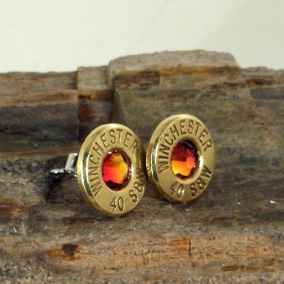 Winchester 40 S&W  Fire Opal  Bullet Earrings  by ShellsNStuff, $19.99