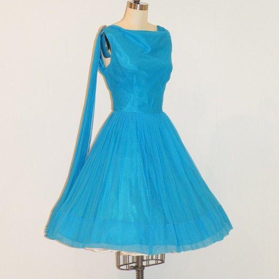 Vintage 50s party dress aqua blue chiffon formal cocktail wedding pa