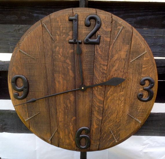 Bourbon Barrel Clock by BarnetteBarrels on Etsy, $125.00