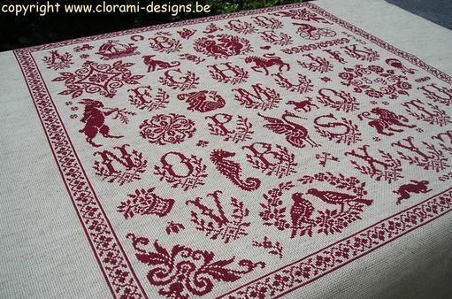 Marquoir rouge au point de croix - Sajou Sampler - www.clorami-designs.be