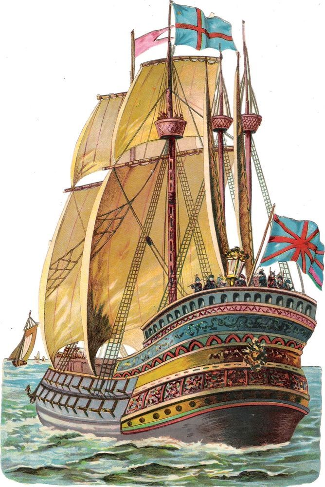 Oblaten Glanzbild scrap die cut chromo Segel Schiff ship XL 26,5 cm