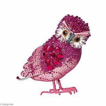 Pink Glitter Standing Owl 19cm