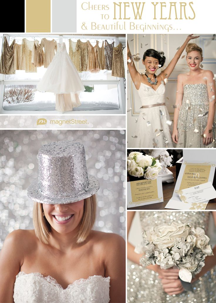 Silver, black, and gold wedding inspiration - love the glitz and glamour of this sparkly palette and board. Great for a New Years wedding theme, or possibly Art Deco wedding theme.
