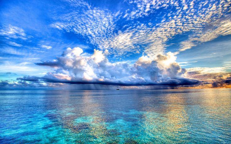 what a beautiful skyline: Blue Sky, Nature, Maldives Island, 50 Shades, The Ocean, Beautiful Clouds, Sea, Places, The Maldives