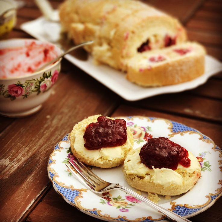 Homemade Scones, Strawberry Jam, Clotted Cream and Raspberry Roulade.