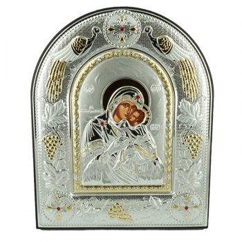 Εικόνες : Ασημένια Εικόνα με την Παναγία με Επίχρυσες Λεπτομέρειες σε Καφέ Δέρμα MA/E5104AX/BR