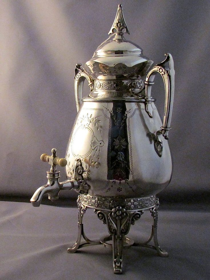 SILVER SAMOVAR ANTIQUE extensively hand chaised HotWater