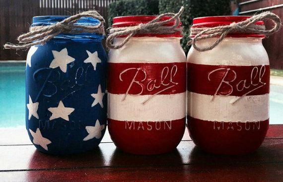 American Flag Decor, Mason Jars, 4th of July Decor, American Flag, Home Decor, Labor Day Decor, Red White and Blue