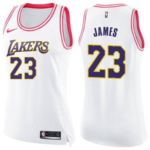 more photos c1f86 8069f Nike Lakers #23 LeBron James White Pink Women's NBA Swingman ...