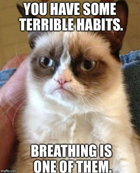 Grumpy Cat Meme | YOU HAVE SOME TERRIBLE HABITS. BREATHING IS ONE OF THEM. | image tagged in memes,grumpy cat | made w/ Imgflip meme maker www.myhappyfamilystore.comTap the link to check out great cat products we have for your little feline friend!