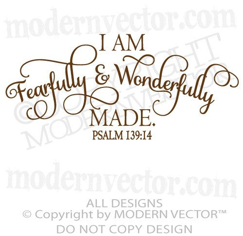Fearfully And Wonderfully Made Psalm 139 14 Quote Vinyl
