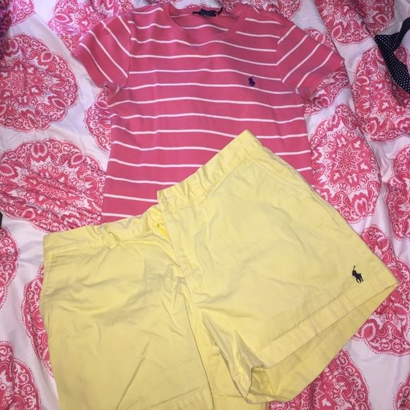 Bundle Polo Outfit This fun, bright outfit can be yours for half the price of retail!  Comes with a pair of yellow polo shorts (size 12) but can fit anywheres from a 10-12. And a pink striped polo shirt that is a size large but would work better for a person who normally wears a medium in shirts! 100% Authentic of course :) Ralph Lauren Shorts Bermudas