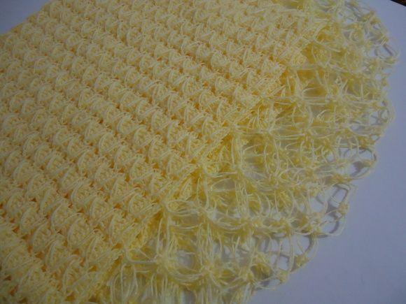 Manta de Crochê para bebê - Amarela