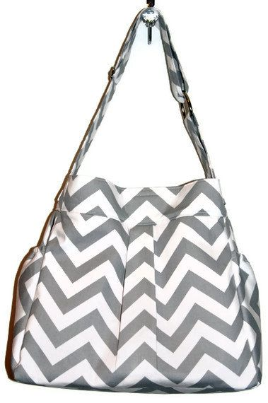 Girl or Boy Diaper Bag in Grey and White CHEVRON par LanaRaePurses, $80,00